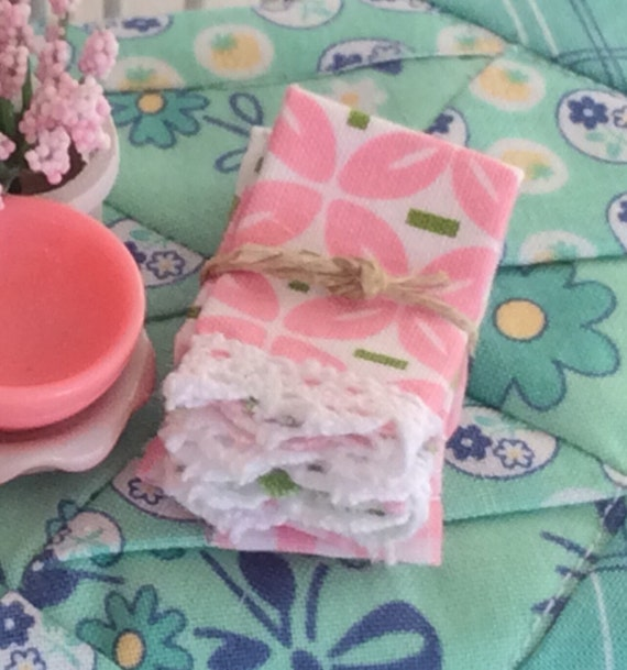 Miniature Kitchen Lace edged tea towels-1:12 scale