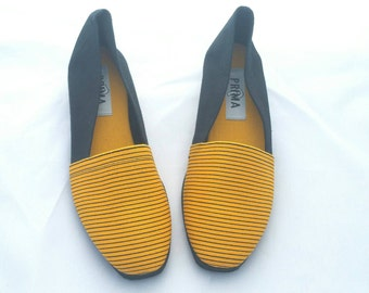 Bold Yellow Striped Flats // 80s Vintage // Size 8 // Deadstock