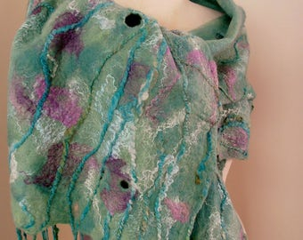 green blue  felted wrap by plumfish Australian Merino and silk