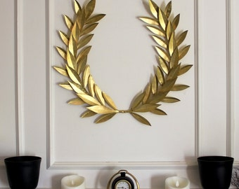 BRASS Laurel Bay Leaf Crest Wreath  Year-round Everyday Decor  Peace Honor Glory Wedding Olympic Holiday Christmas Welcome Front Door