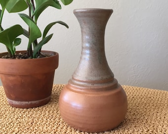 Grey and Peach Pottery Vase