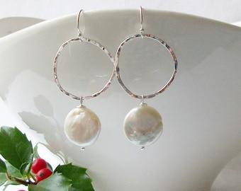Coin Pearl Dangle Earrings, Sterling Pearl Earrings, Handmade Coin Pearl Earrings, Christmas Gift for Her, XMas