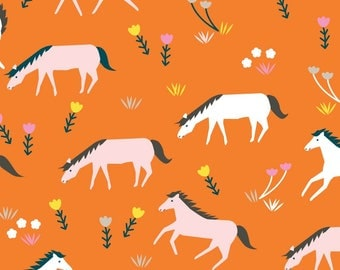 Organic Cotton Fabric, Cloud9 ,Stay Gold,Ponies in Sunset, by the half-yard