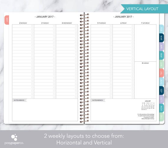 2018 Planner Calendar Choose Start Month Add Monthly Tabs