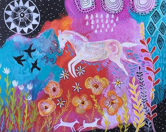 Intuitive Acrylic Horse Painting Ready to Hang