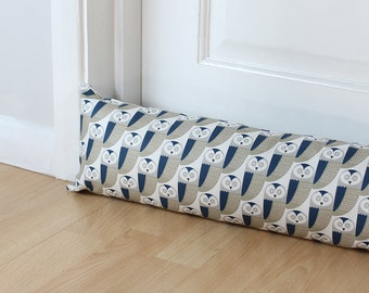 Draught Excluder Grey and Blue Owl Fabric Scandi Long