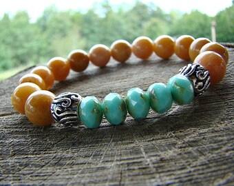 Brown Gemstone Bracelet, Turquoise Czech Glass Bead Bracelet, Gold Jade Bracelet, Stretch Bracelet, Beaded Bracelet, Silver Bead Bracelet