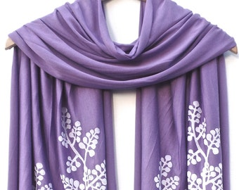 Hand Printed Jersey Scarf BERRY BRANCH in WHITE ink. Available in many colors!