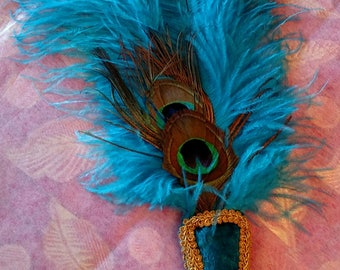 Ostrich Feather Vintage Inspired Fan, Turquoise and Peacock, 16 inch, Phryne Fisher, Edwardian, Renaissance, Egyptian, Flapper