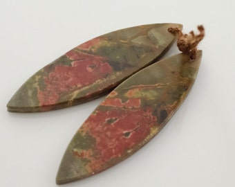 Jasper Earring Pair. Cherry Creek Jasper Marquis Earring Pair or Pendants. Matched Pair Earring Components.