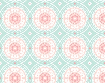Modern Fabric - Mint And Pink Medallion By Sugarfresh - Sugarfresh Cotton Fabric By The Yard With Spoonflower