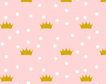 Pink Princess Fabric - Pink Crowns By Mrshervi - Pink Cotton Fabric By The Yard With Spoonflower