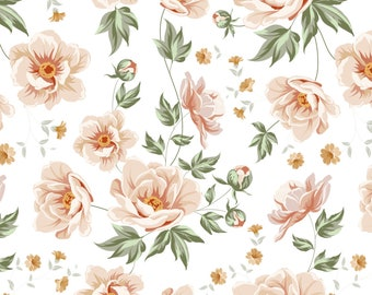 Vintage Pink Roses Fabric - Rose Vintage Light Pink Roses By Khaus - Baby Girl Vintage Nursery Cotton Fabric By The Yard With Spoonflower