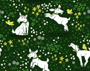 Goat Fabric - Tiptoe Through The Tulips - Large By Pinky Wittingslow - Goats on Dark Green Cotton Fabric By The Yard With Spoonflower