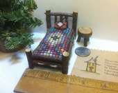 Half Inch Scale Set Rustic Miniature Dollhouse Furniture Log Cabin 4 pieces: Bed Table Woodland Fairy Western