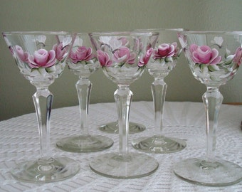 Summer Sale! Hand Painted Wine Glasses, Set of 6 Wine Glasses, Pink Roses, Fuchsia Roses, Handpainted Wine Glasses, Small Wine Glasses