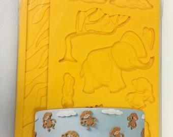 Wilton Elephant Monkey Jungle Mold Cake Baking Tools Border Fondant Scroll Swirl Gumpaste Silicone Mold