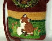 MY BIRTHDAY SALE Felted Purse, Felted Handbag, Fox Art, Needle Felt Fox,hand knit purse, wool purse