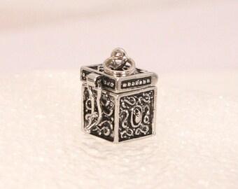 Vintage Silver Box Charm Wish Locket Prayer Box Pendant Opens Closes Wish Box