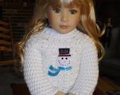 Crocheted Snowman Tunic Sweater for Kidz 'n' Cats Dolls