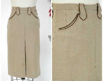 Vintage 1950s Skirt - Fabulous Brown and Ivory Wool Western 50s Wiggle Skirt with Arrow Belt Loops and Stitched Accents