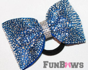 Amazing LARGE Tailless  rhinestone Allstar cheer bow  by Funbows !