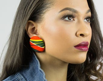Fabric button earrings jewelry subscription