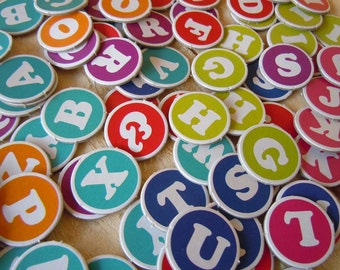 """1"""" Alphabet Letters Chipboard Scrapbooking Die Cuts ABC Round Circle Letters"""