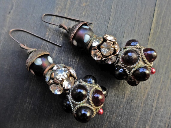 "Stacked spotted globe earrings, handmade artisan jewelry by fancifuldevices- ""Exulansis"""