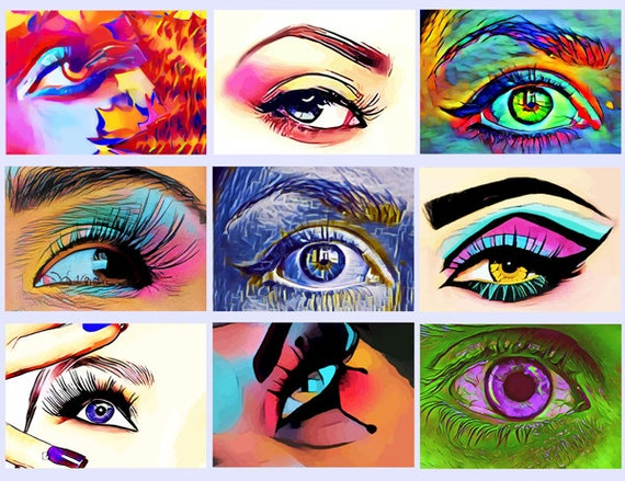 """abstract eyes makeup printable art clipart collage sheet beauty clip art digital download graphics images 2.5"""" x 3.5"""" printable eye art"""