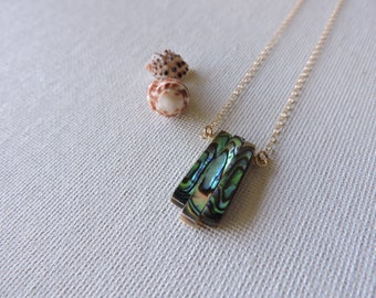 Paua shell necklace - abalone  & 14k gold filled chain necklace - natural shell jewelry -  beach jewelry - summer jewelry