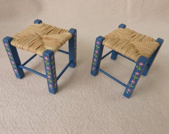 12th scale  stool  Portuguese typical painted furniture