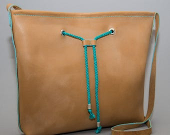 The Denise Bag - Grain Leather Tote - Tan with Turquoise accents