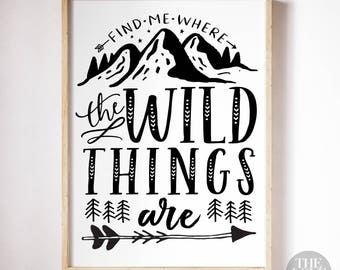 Find Me Where The Wild Things Are - A4 Art Print in Jet Black + White
