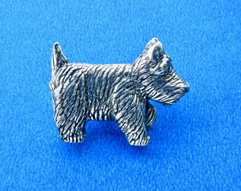 1 Danforth Vintage Pewter Scottie Dog or Westie Pewter Button Realistic 1990's Signed/Stamped on Back