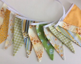Australia Day bunting - yellow green 12 flags, Shabby Chic,  Fabric Garland, Wedding Bunting, Girl's Bedroom