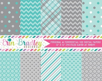 50% OFF SALE Digital Scrapbook Papers Personal and Commercial Use Blue and Grey Medley