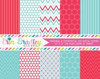 50% OFF SALE Summer Days Blue and Red Digital Paper Pack Commercial Use Instant Download