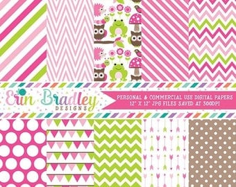 50% OFF SALE Forest Friends Digital Papers Pink & Green Animals Chevron Stripes Arrows Bunting Patterns