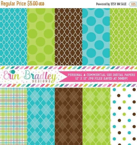50% OFF SALE Digital Scrapbook Papers Personal and Commercial Use Blue Green and Brown Printable Digital Papers Instant Download