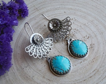 Turquoise And Filigree Chandelier Earrings Sterling Silver Pilot Mountain Turquoise Handmade