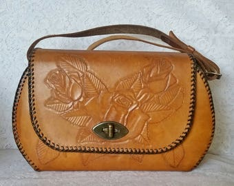 Vintage, Tooled Leather, Boho Chic, Handbag with Beautiful Roses and Leaves Motif