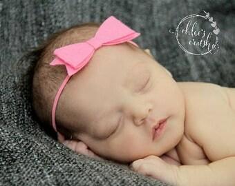 pink felt bow Headband, newborn Baby Bow, Baby Headband, Headband, Flower headband bow, baby hair accessory, best baby gift, shower