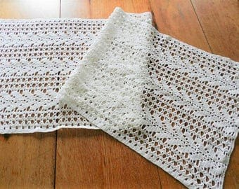 White Crocheted Dresser Scarf, Crocheted Bureau Scarf, Crocheted Table Runner, Hand Crocheted Scarf,