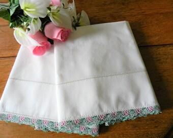 NOS Crocheted Trim Pillowcases, Mohawk Pillowcases, Never Used Pillowcases, Pink Green Trim Pillowcases, Cotton Pillowcases