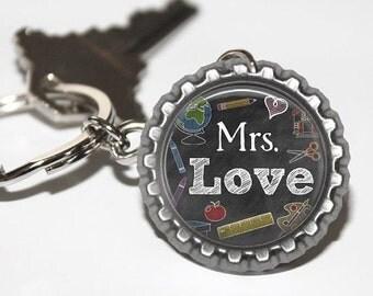PERSONALIZED Teacher Chalkboard Bottlecap Keychain - Teacher Appreciation, Thank You Gift, Back to School, Holiday Gift