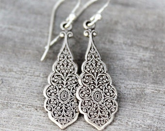 Dangling Silver Earrings, Sterling Silver, Art Nouveau Style Earrings, Teardrop Earrings, Silver Earring, Lever Back Ear Wire