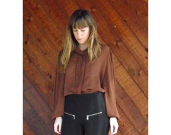 extra 30% off sale . . . Brown Sheer Feminine Secretary Blouse - Vintage 70s - MEDIUM
