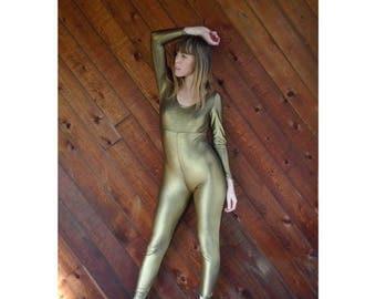 25% off Flash Sale . . . Gold Metallic Stretch Full Bodysuit Leotard - Vintage 80s - XS/S Petite