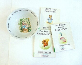 Wedgewood Peter Rabbit Old Mrs Rabbit Child's Bowl 3 Vintage Beatrix Potter Books Jemima Puddle Duck Tom Kitten, Squirrel Nutkin Soft Covers